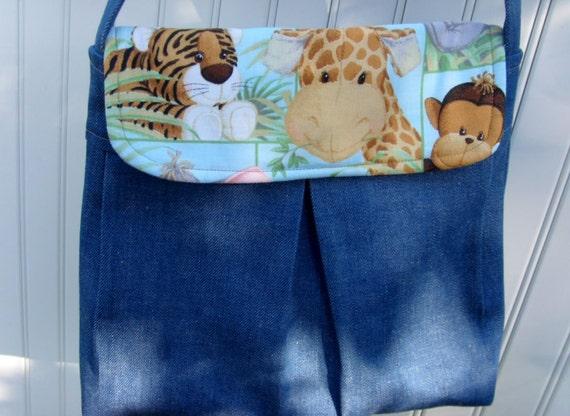 Boys Denim Pleated Diaper Bag/ Blue Denim with Jungle Babies
