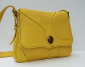 LEATHER MESSENGER  Smiling Happy Yellow