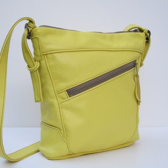 SUPER SALE Handmade LEATHER Shoulder Bag Smiling Happy Yellow
