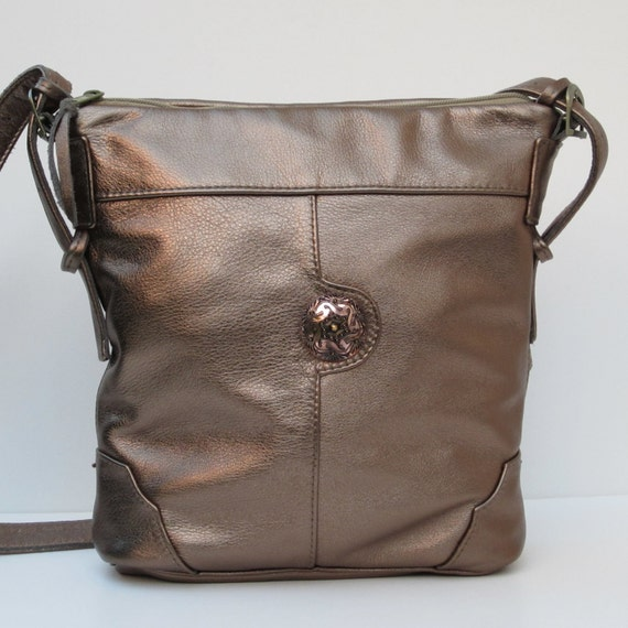 Handcrafted Metallic Leather SHOULDER BAG-Satchel-Purse-by elizabethzmow