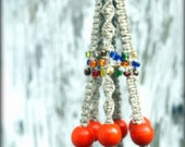 On Sale- Macrame Jewelry for Plant- Plant Hanger- Hanging Basket-Tangerine Tango- Handmade Natural Hemp