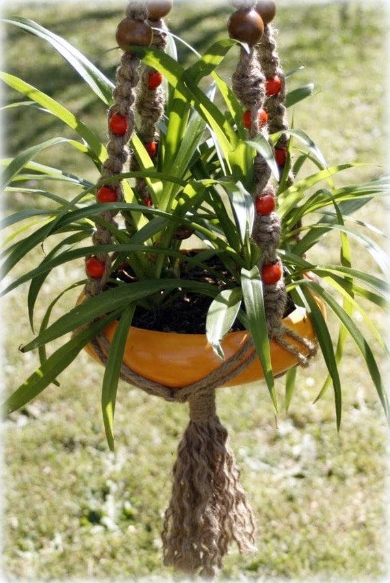 Marigold - Handmade Natural Jute Macrame Plant Hanger  - Hanging Basket- Hanging Planter