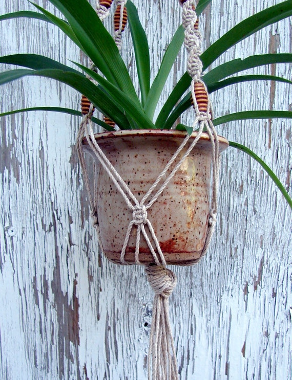 Macrame Plant Hanger- Made in Italy- Miele- Handmade Natural Hemp