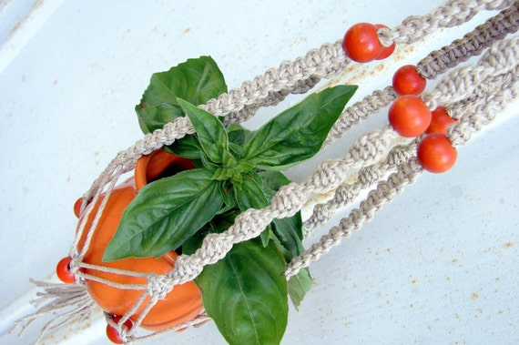 Macrame Plant Hanger- Custom Made to Order- Spritz- Handmade Natural Hemp Hanging Planter