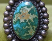 Sterling Silver Vintage Southwestern Southwest Oval Tourquoise Turquoise Ring
