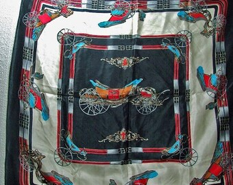 Large Vintage Silk Turquoise Black  Royal Carriage Scarf Fit for a Princess ATCTTEAM