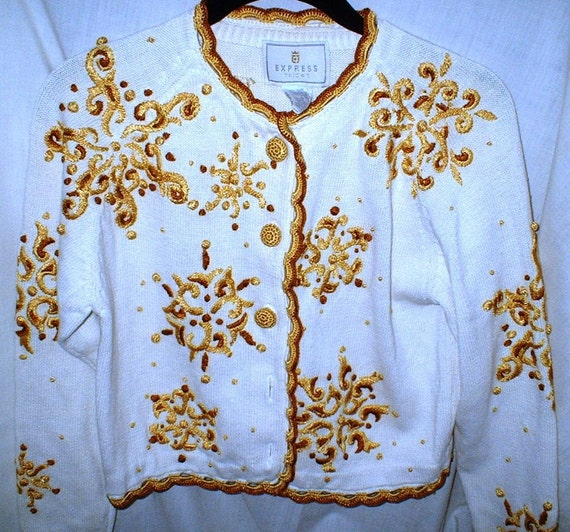Golden Embroidered Crocheted and Crewel Work Cardigan Ugly Christmas Sweater Crochet Buttons Short Sweater Snowflake
