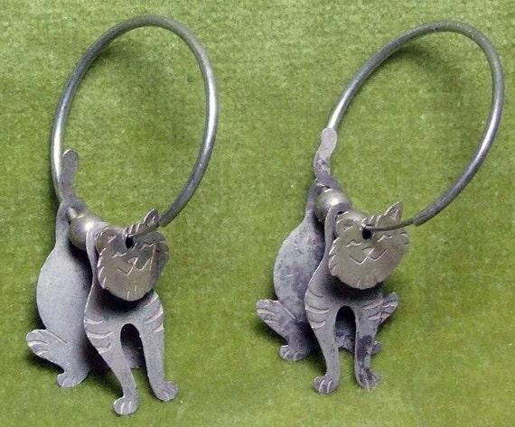 Silver Kitty Cat Puzzle Hoop Earrings Handcrafted Fun Fun Fun