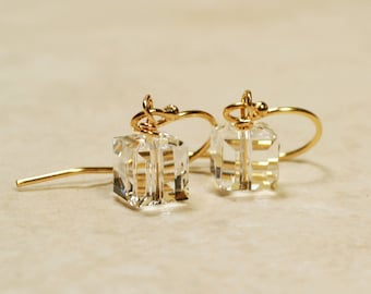 14K GF Crystal Cube Earrings