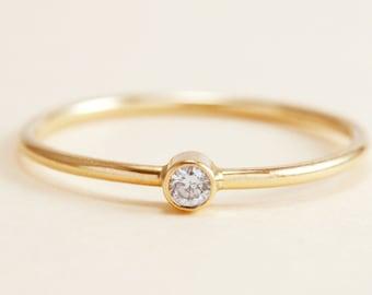 Simple Diamond Ring in 14K Gold