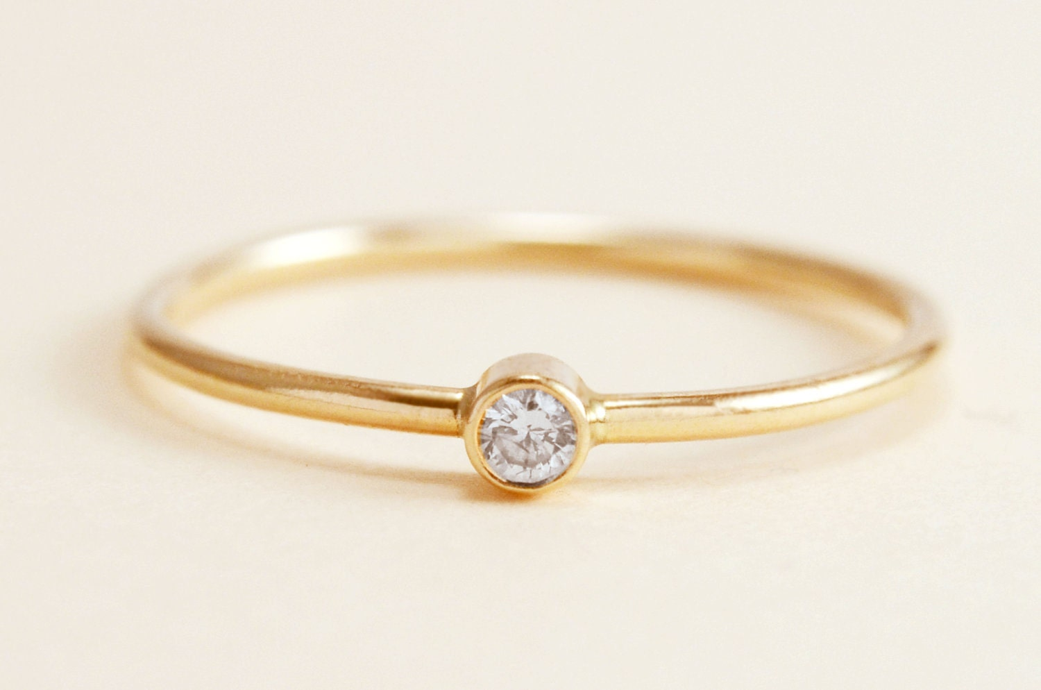 Simple Diamond Ring in 14k Gold by peachesandcherries on Etsy