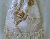 The Elegance of neutrals crazy quilt drawstring purse