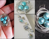My Robyn's Nest - Handmade silver wire nest of gorgeous glass bead eggs