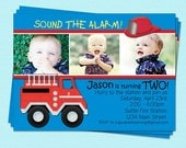 Fire truck invitation boy birthday