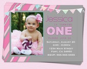 1st Birthday Invitations Girl Modern One Year First Printable Party