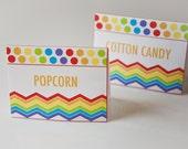 Rainbow Birthday Food Label Tent Cards Polka Dot Birthday Party - Set of 12