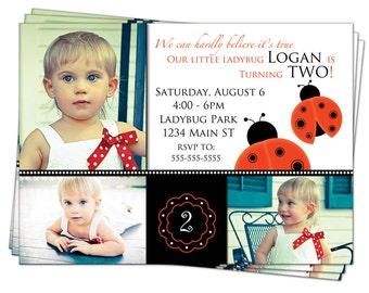 Ladybug 1st Birthday Invitation Girl Custom Photo Printable Digital File