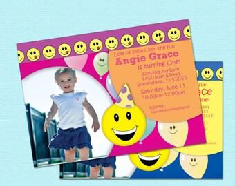1st Birthday Invitations Girl Boy Happy Smiley Face Photo Printable Party