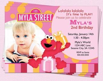 Elmo Birthday Invitation Sesame Street Girl