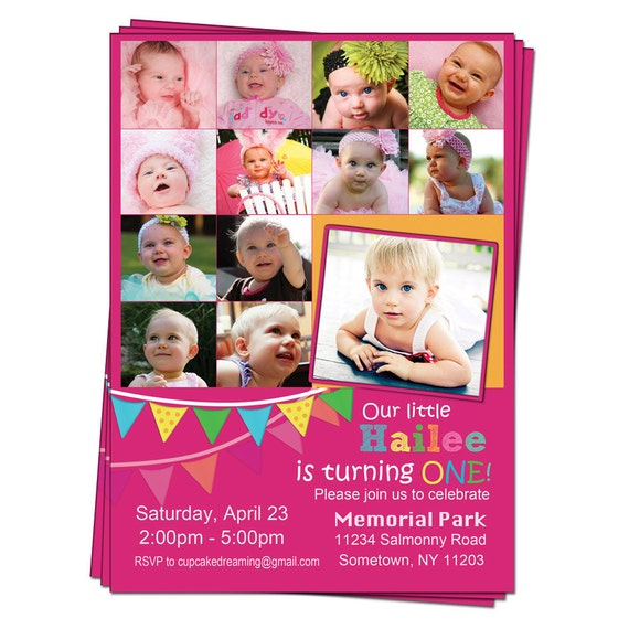 First 1st Birthday Invitations Photo Collage Printable Digital Party