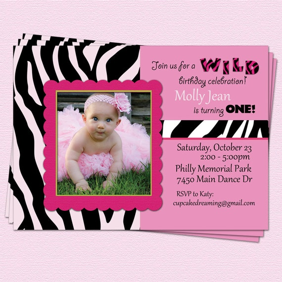 Pink Zebra Print Girls 1st Birthday Invitation: Zebra Birthday Invitations Girl Diva Pink By CupcakeDream