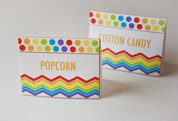 Rainbow Birthday Food Label Tent Cards Polka Dot Birthday Party - Set of 12