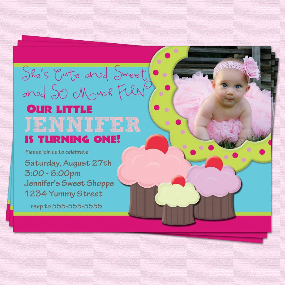 Cupcake Birthday Invitation Girl First By