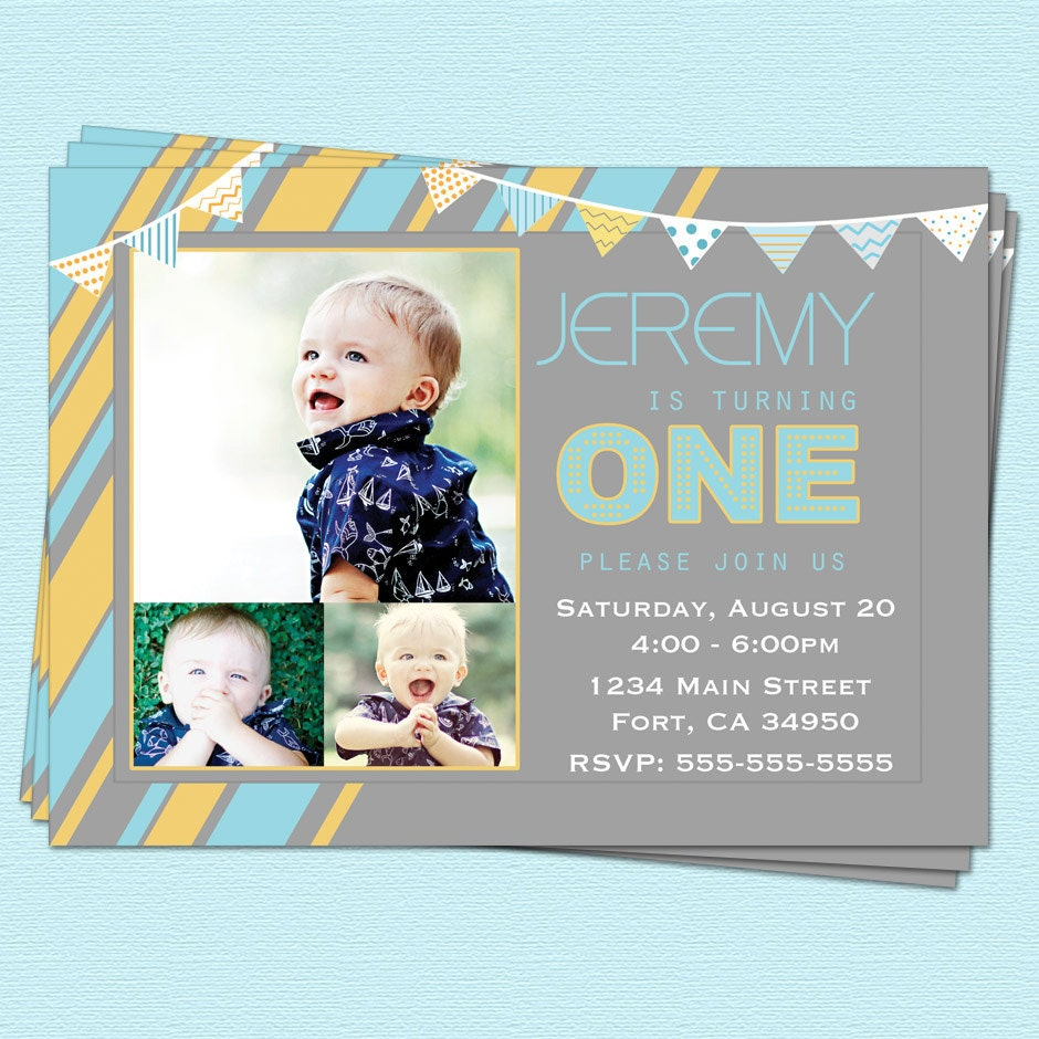 First 1st Birthday Invitations Boy Modern First By