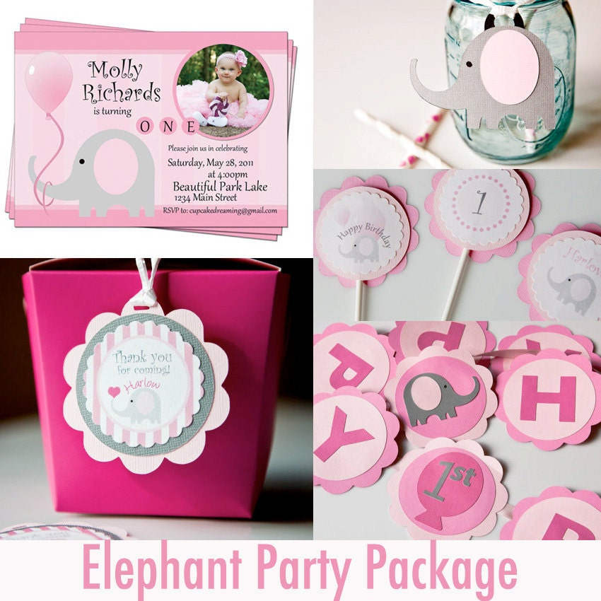 Elephant Birthday Party Package First Birthday By CupcakeDream