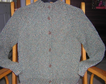 Hand Knitted Misses Crew Neck Button Cardigan