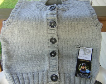 Hand Knitted Button Front Crew Neck Vest