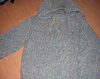 Hand Knitted Childs Hooded Pullover Sweater