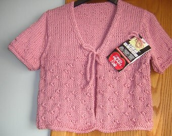 SALE Hand Knitted Misses Short Sleeve Tie Cardigan