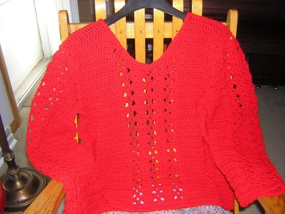 Crochet Ladies V-neck Pullover Sweater