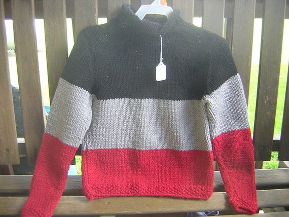SALE Handknitted Childs Rolled Neck Pullover