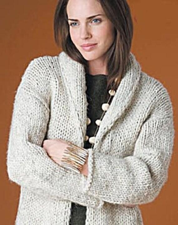 HandKnitted Womens Shawl Collar Cardigan