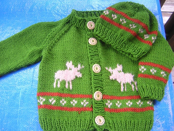 Hand Knitted Childs  Button Cardigan/Hat with Moose