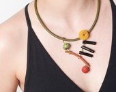Green Olive Leather Necklace,Amber Disk,Black Coral Branch,Serpentine,Spong Coral