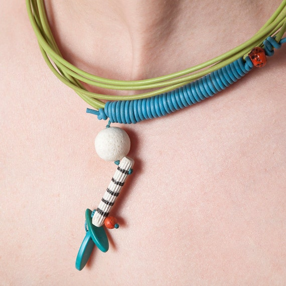 Lime Green and Turquoise Leather Necklace