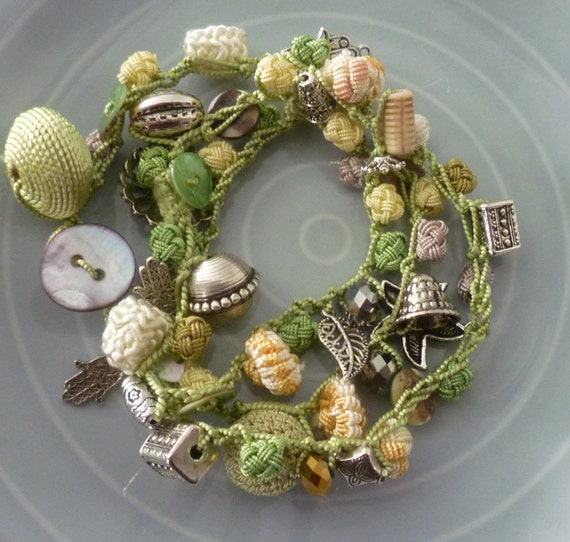 Moroccan art silk bead, mother of pearl button necklace/bracelet, lime, pale yellow and gray