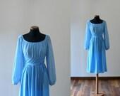 Vintage 1970s azure dress. lace bodice belted dress