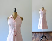 Vintage 70s pink halterneck summer mini dress
