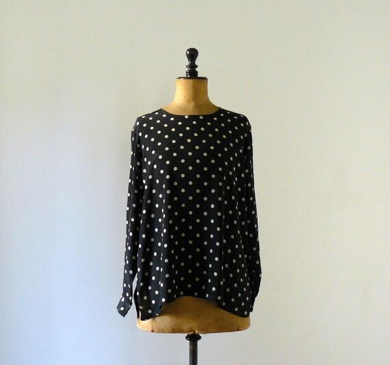 Vintage 1980s slouchy polka dot black blouse