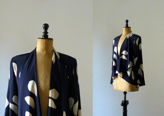 Vintage 1980s blue blouse. calla illy print blazer