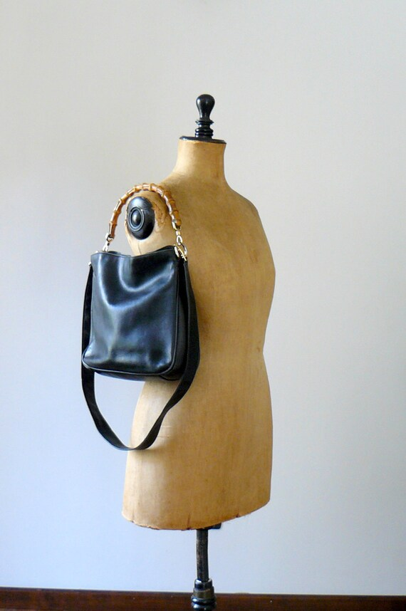 Vintage 1980s/90s GUCCI bamboo handle black leather bag
