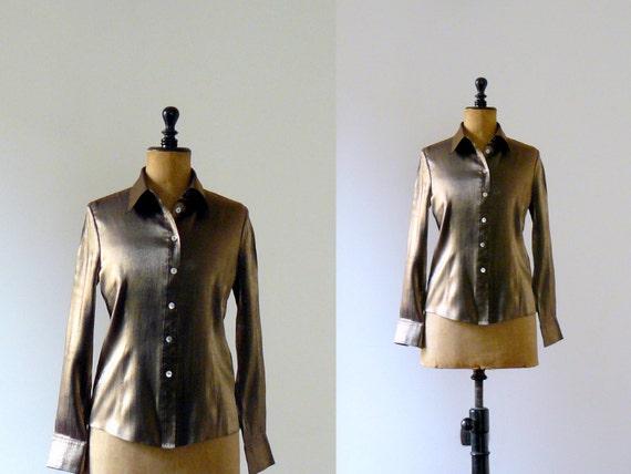 Vintage 1990s iridescent brassy bronze blouse