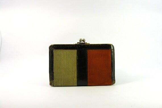 Vintage 1970s two tone corduroy leather wallet