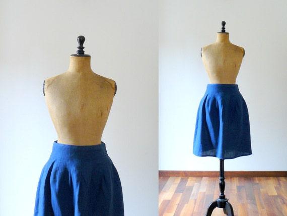 Vintage 1980s Mila Schon blue skirt. linen skirt