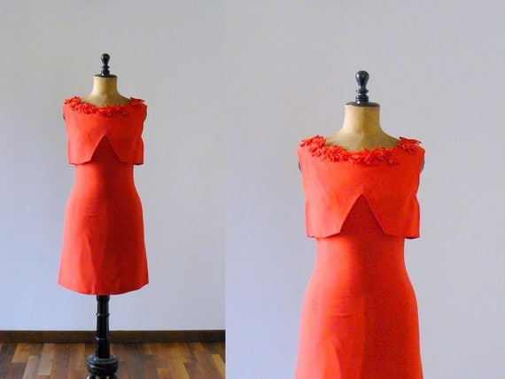 Vintage 1960s dress. 60s red mini dress. Cocktail minidress