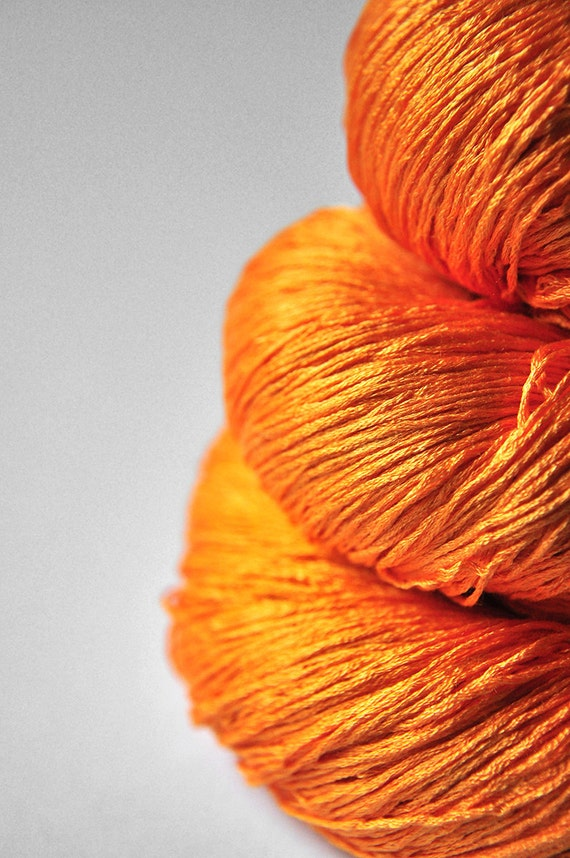 Burning orange OOAK - Silk Yarn Lace weight